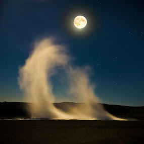 Reaching for the Moon. by Hallgrimur P. Helgason - Landscapes Starscapes ( krisuvik, iceland, backlit, moon, sky, vapour, blue, night, hot spring,  )