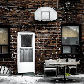 Make the best of what you've got. by Nick Kelleher - Buildings & Architecture Homes ( dilapidated, cold, toronto, snow, alleyway, rundown )