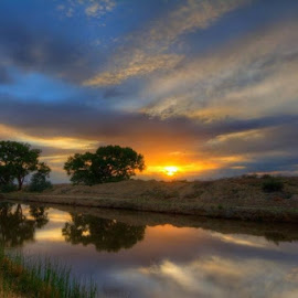 26 Road Reflections by Derrick Snider - Landscapes Sunsets & Sunrises ( water, sunset, colorado, reflections, landscape )