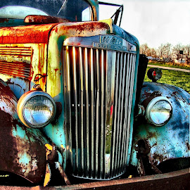 Old White SuperPower Grille by Julie Dant - Transportation Automobiles ( white trucks, truck grilles, abandoned trucks, old trucks, antique trucks, white, nostalgia, semis )