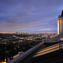 View from Griffith Observatory by Jane Singer - City,  Street & Park  Skylines ( griffith observatory, los angeles, night )