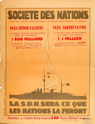 Poster about war spendings, issued by the Belgian Union for the League of Nations, Brussels
