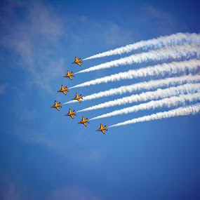 Korea's T-50 Black Eagles by Alan Chew - Transportation Airplanes ( 8-jets, aerobatic team, delta formation, smoke, korean,  )