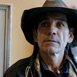 Montana Man by Barbara Brock - People Portraits of Men ( native american headshot, modern american indian, american indian man, native american portrait )