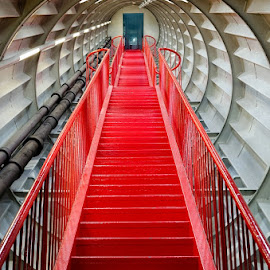 red stair by Huybrighs Marc - Buildings & Architecture Architectural Detail ( stair, red, m..., atomium, belgium, brussels,  )
