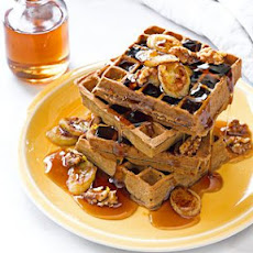 Banana-Buckwheat Waffles with Banana-Walnut Syrup