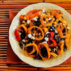 Salad with Marinated Peppers, Garbanzos, and Olives