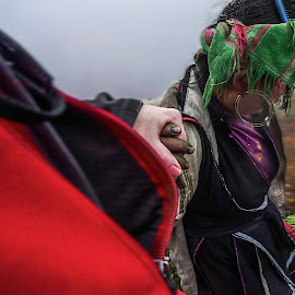 Helping me down the mountain by Barb Hauxwell - People Street & Candids ( holding, hands, helping, woman, trekking, sapa, vietnam )