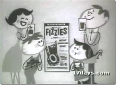 Happy Family drinking Fizzies vintage animated TV commercial