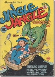 cartoon sailor rowing with fork and spoon while a green dragon sits behind smaoking a peppermint candy cane pipe George Carlson Jingle Jangle cover scan Pretzelburg