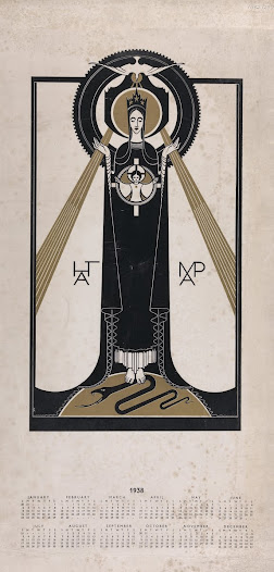 Printed calendar for 1938 showing the Madonna and Child in a style reminiscent of Art Deco.