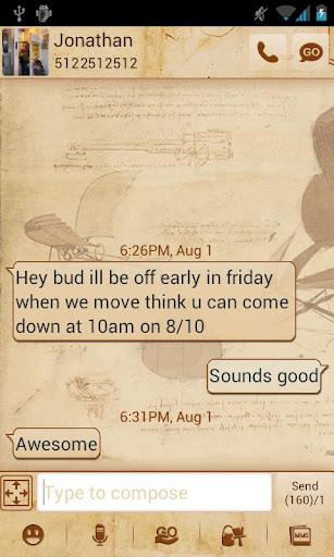 Go SMS Da Vinci Theme