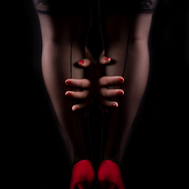 by Christine Guay - Nudes & Boudoir Boudoir ( charming, classy, sexy, boudoir, black and red )
