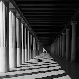 The Maze by George Petridis - Buildings & Architecture Public & Historical ( abstract, stoa, ancient, black and white, greece, columns, architecture, maze, attalos, shadows )
