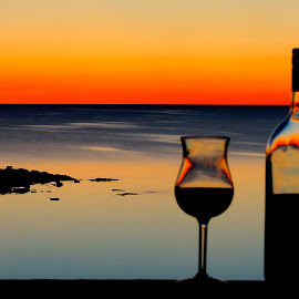 fire on the horizon by Helen Bagley - Food & Drink Alcohol & Drinks ( calm, wine, orange, sunset, lakes, long exposure )