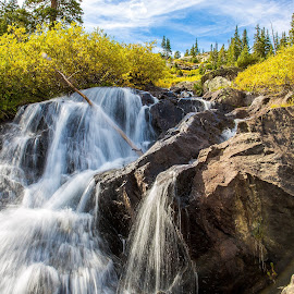 Waterfall by Brent Gudenschwager - Landscapes Waterscapes ( water, stream, mountain, fall, waterfall, gulch )