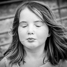 Feel the Breeze by Rhonda Royse - Babies & Children Children Candids ( girl, black and white, serene, child portrait, children )