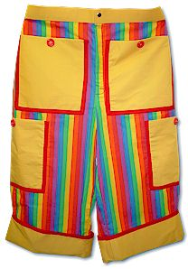 a pair of clown shorts that are similar in lenth to the current basketball shorts