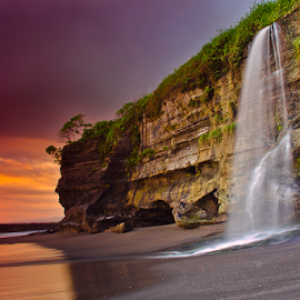 Cliff and Beach by Choky Ochtavian Watulingas - Landscapes Beaches ( sand, sunset, waterfall, cliff, wave, seascape, beach )