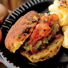 Beer-and-Beef Chili Sliders on Bacon Biscuits with Tomatillo Ketchup