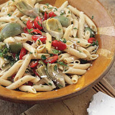 Cold Pasta Salad with Baby Artichokes (Pinninos kin Iscarzofa) Recipe