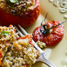 Stuffed Tomatoes with Quinoa, Soft Tofu, basil, shallots