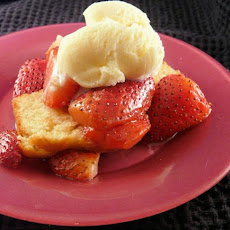 Balsamic Strawberries and Ice Cream on Pound Cake