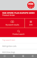Screenshot of NGK EU Product finder