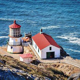Pt. Reyes Lighthouse by Lou Plummer - City,  Street & Park  Vistas (  )