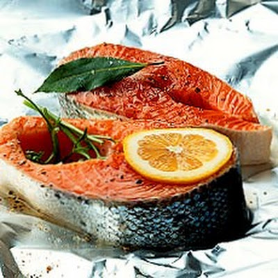 Foil-baked Salmon served with English Parsley Sauce