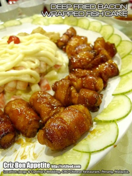 Deep fried bacon wrapped fish cake new crc chinese for Bacon wrapped fish