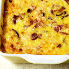 Corn Pudding with Mushrooms and Ham