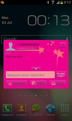 Go sms Pink girly star Theme