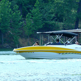 Headed to open Water. by Lesley Blevins-Price - Transportation Boats ( waterscape, sports, amateur, lake, boat )
