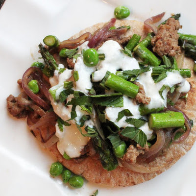 Skillet Ground Lamb with Asparagus, Peas, and Tzatziki Sauce