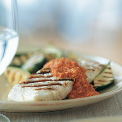 Halibut and Zucchini with Romesco Sauce
