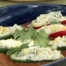 Grilled Stuffed Jalapeno Chiles with Grilled Red Pepper-Tomato Sauce