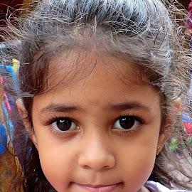 LITTLE CUTIE by Doug Hilson - Babies & Children Children Candids ( face, little girl, innocence, india, big dark eyes )