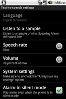 Screenshot of Speaking Alarm