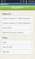 Screenshot of Migration+ (transfer contacts)