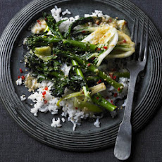 Saucy Japanese greens with sticky sesame rice