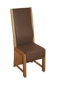Leather Upholstered Dining Chair in American Black Walnut