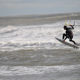 Catching Some Air by Prentiss Findlay - Sports & Fitness Watersports ( sea, ocean, beach, surf, kiteboarding )