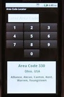 Screenshot of Area Code Locator