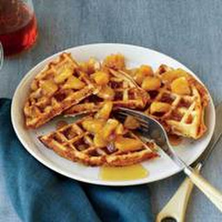 Whole Grain Waffles with Cheddar and Maple-Apple Sauce