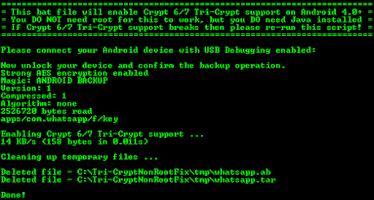 Screenshot of WhatsApp Tri-Crypt