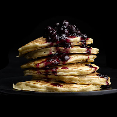 Oatmeal Pancakes with Wild Blueberry Sauce