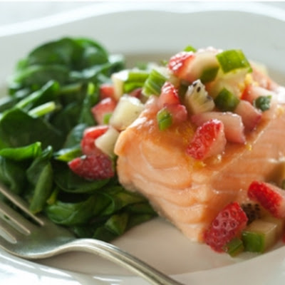 Baked Salmon with Spinach and Strawberry Salsa