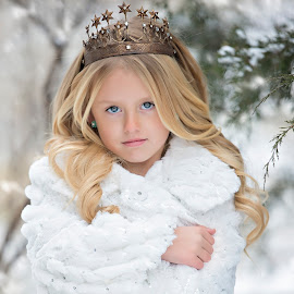 Winter glam by Carole Brown - Babies & Children Child Portraits ( little girl, blonde hair, crown, snow, blue eyes, white fur )