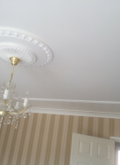 plastered ceiling and fully decorated room